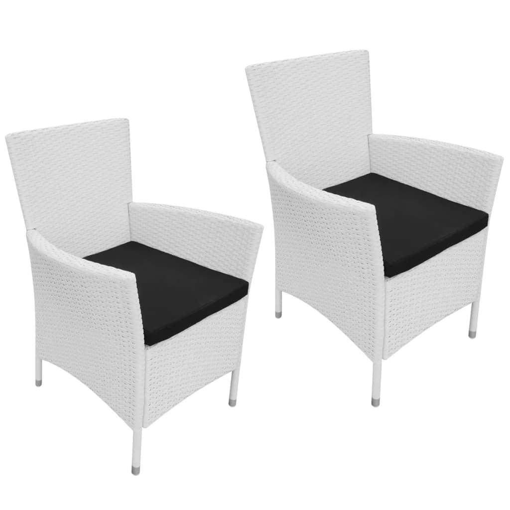 Vidaxl Garten Esszimmerstühle 2 Teilig Poly Rattan Creme Weiß