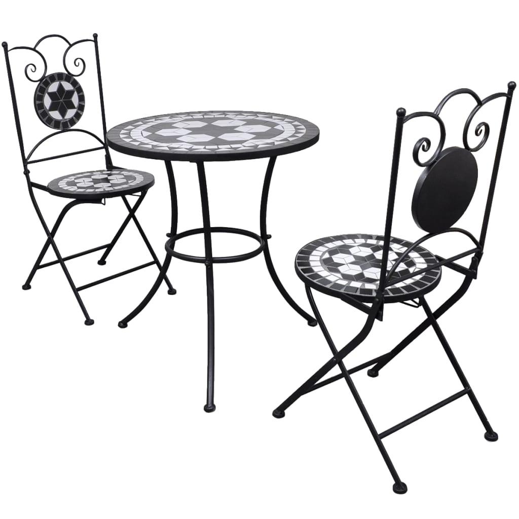 Vidaxl Garten Bistro Set Mosaik Stuhle Tisch 60 Cm Schwarz Weiss