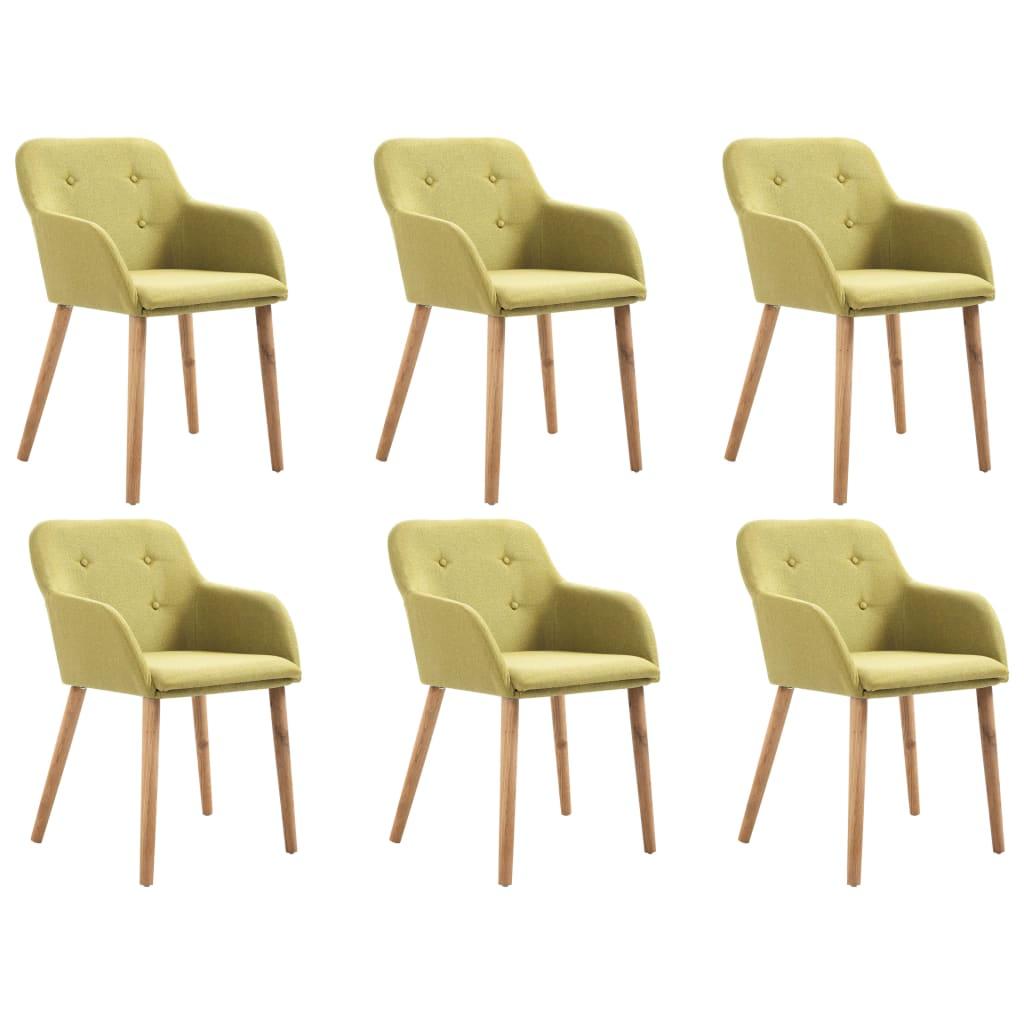 vidaXL Esszimmerstühle 6 Stk. Grün Stoff und Massivholz Eiche
