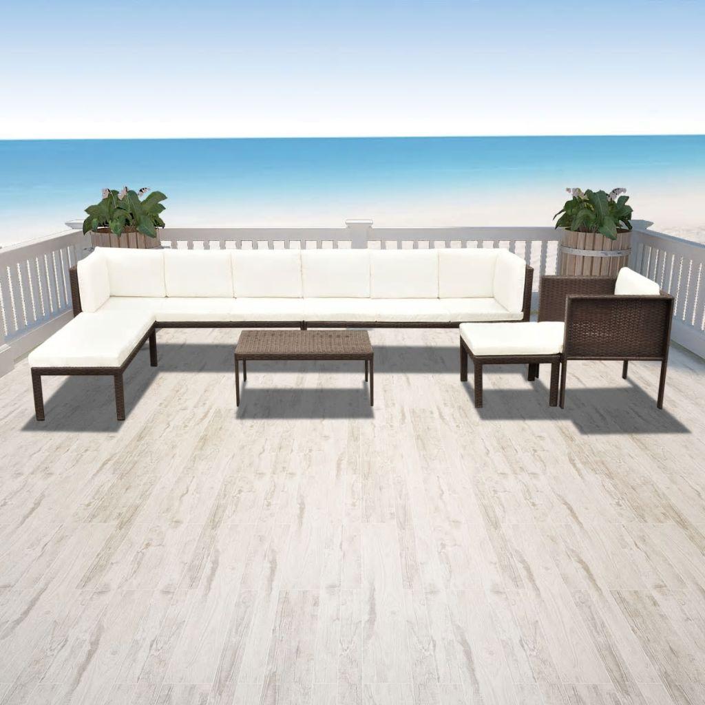 vidaXL Garten-Lounge-Set 24-tlg. Poly Rattan Braun - Kaufen bei Vida ...