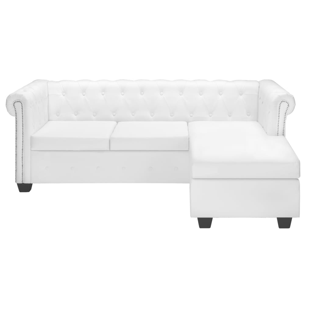 vidaXL Chesterfield Sofa in L-Form Kunstleder Weiß ...