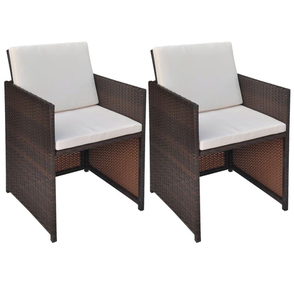 Vidaxl Esszimmerstühle 2 Stk Braun 525685 Cm Poly Rattan Kaufen
