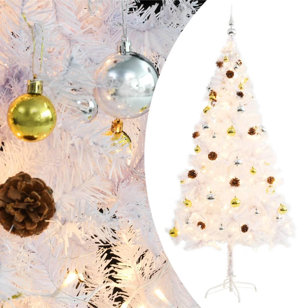 Warum Wird Der Weihnachtsbaum Geschmückt.Vidaxl Künstlicher Weihnachtsbaum Geschmückt Kugeln Leds 180 Cm Weiß