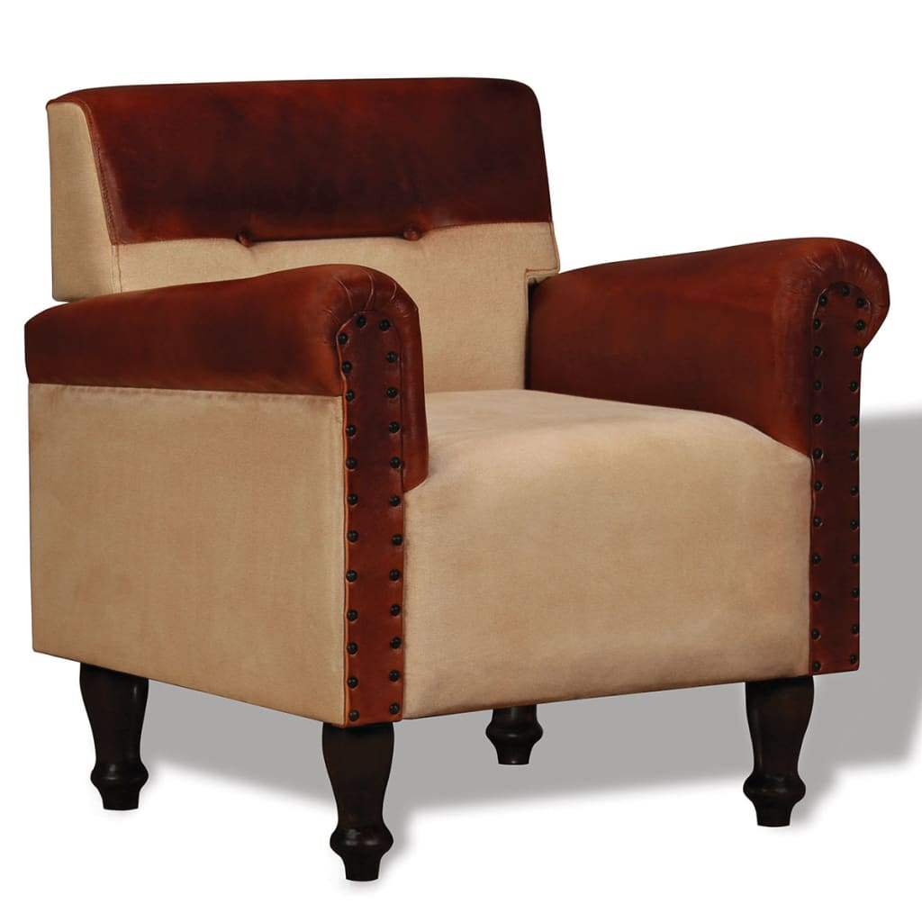 Vidaxl Sessel Echtleder Und Stoff Braun Und Beige Kaufen Bei Vida