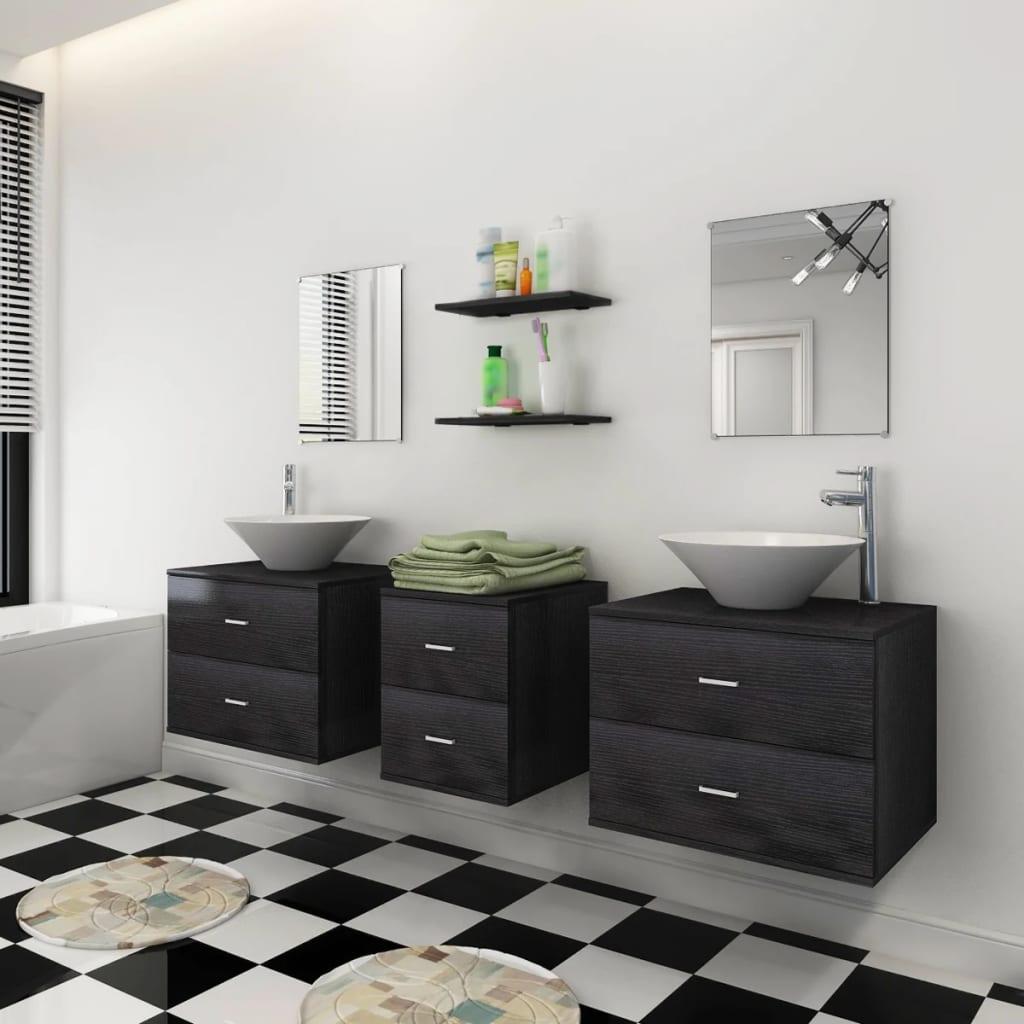 vidaXL 9-tlg. Badmöbel-Set mit Waschbecken und Wasserhahn Schwarz ...