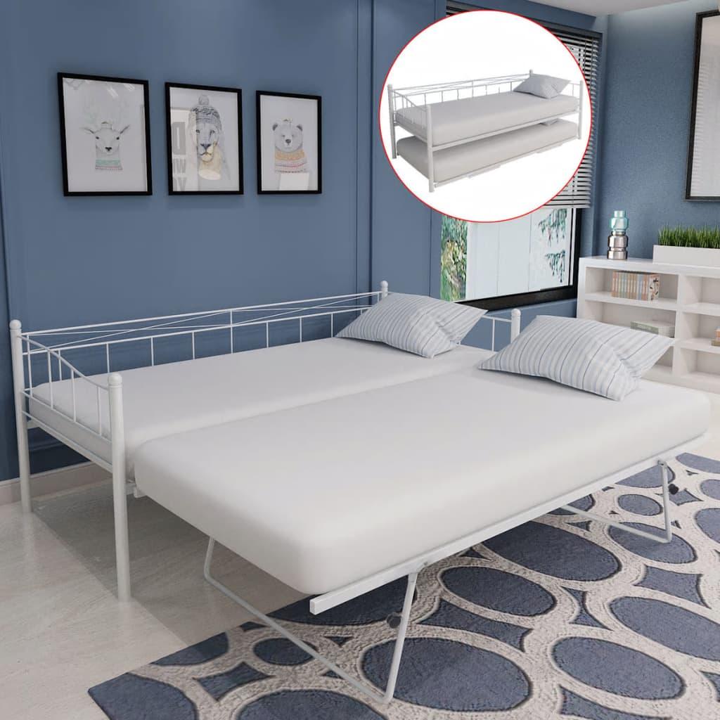 vidaXL Tagesbett Bettgestell 180x200/90x200 cm Stahl weiß - Kaufen ...
