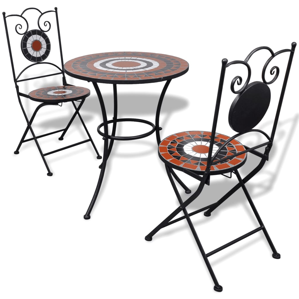 Vidaxl Garten Bistro Set Mosaik Stuhle Tisch 60 Cm Terrakotta Weiss