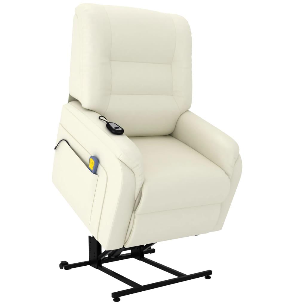 vidaXL Massage TV Sessel mit Aufstehhilfe Elektrisch Creme Kunstleder