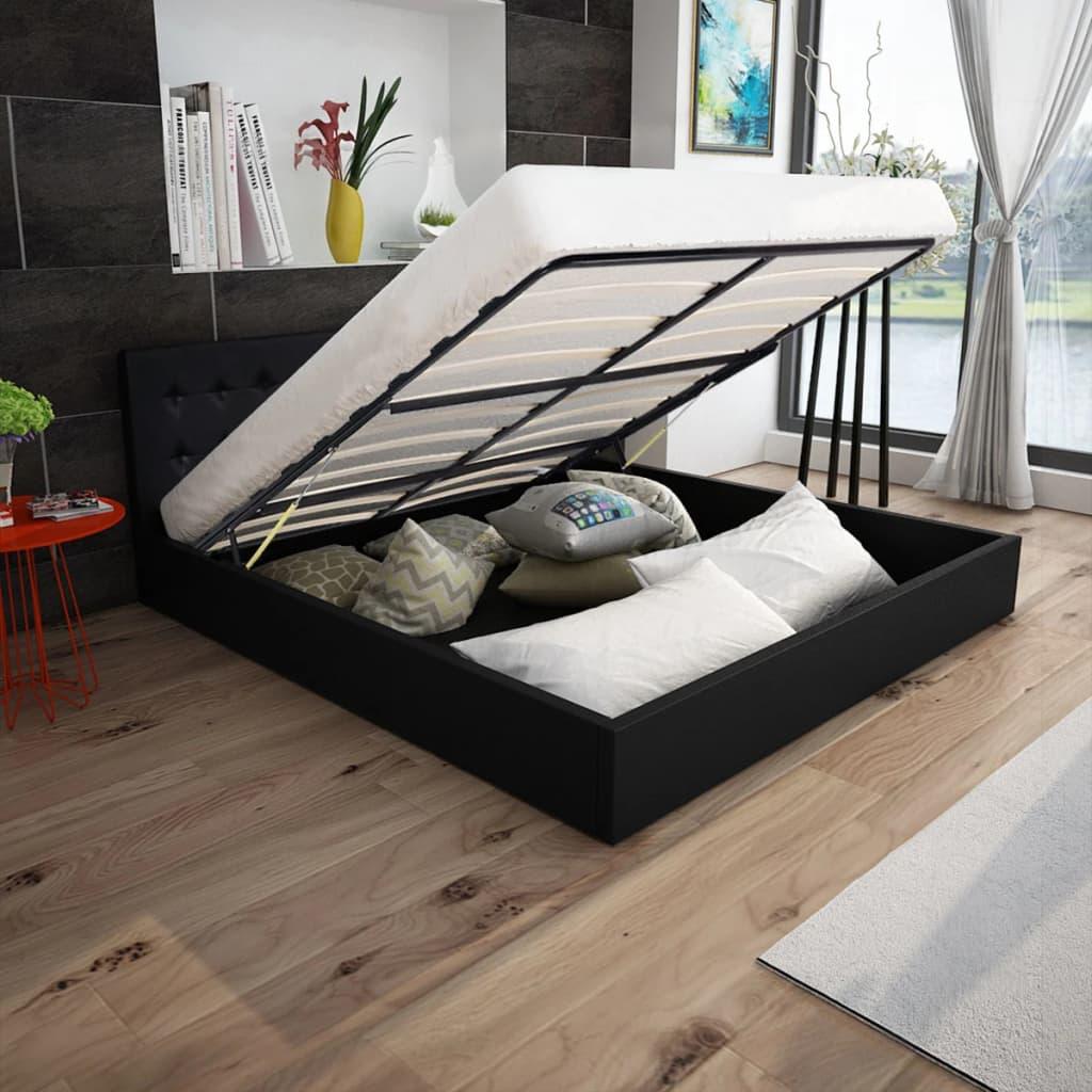 Kunstleder-Bett mit Gasdruckfeder-Bettkasten 180 cm Schwarz - Kaufen ...