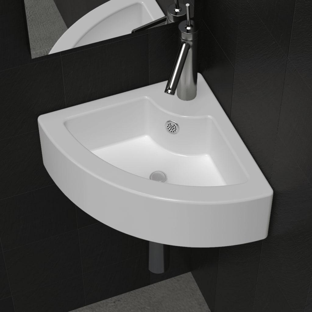 Keramik Eck Waschtisch Waschbecken mit Überlauf Weiß - Kaufen bei ...