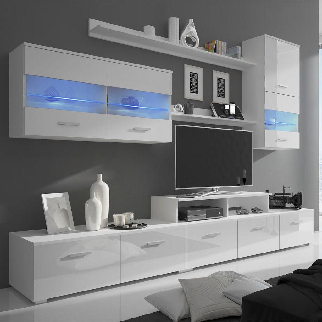 Vidaxl Siebenteilige Wohnwand Mit Led Hochglanz Weiss 250 Cm