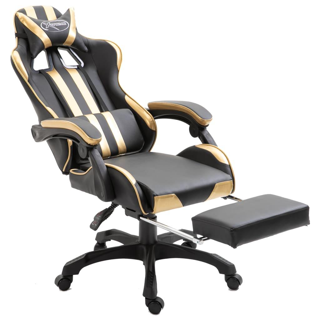 vidaXL Gaming Stuhl mit Fußstütze Golden Kunstleder