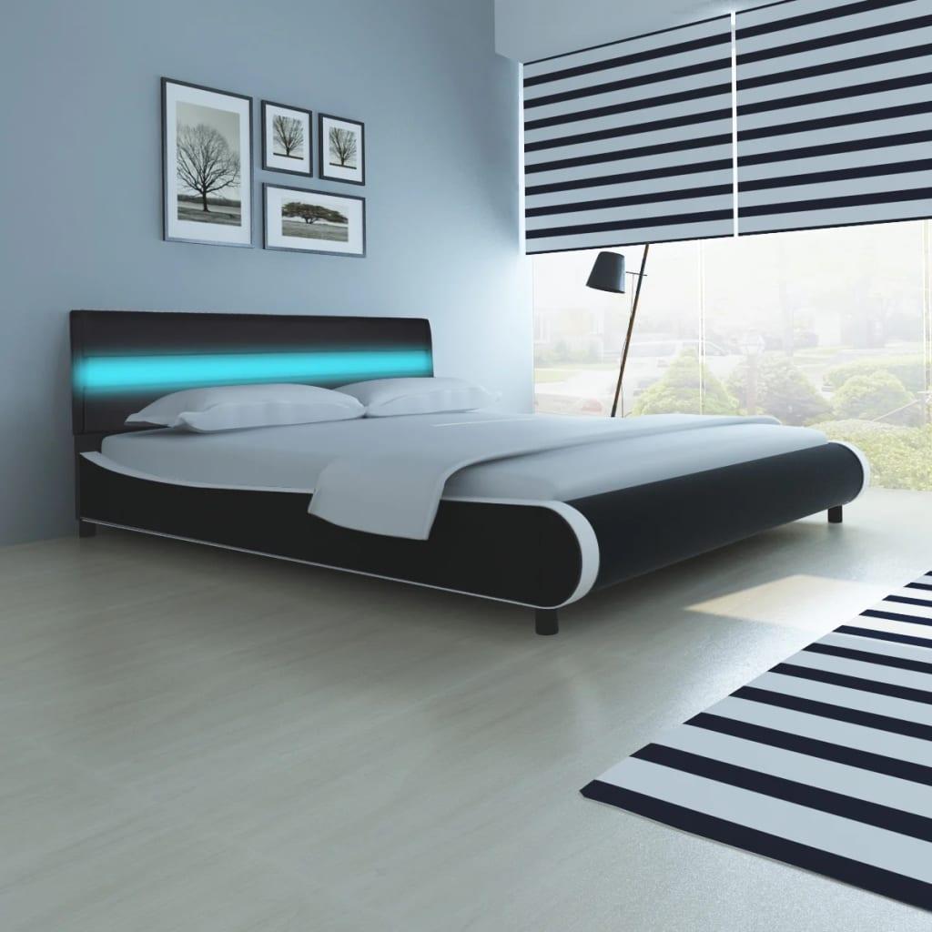 GroB Kunstlederbett Mit LED Streifen Am Kopfteil 180 Cm + Matratze 1 ...
