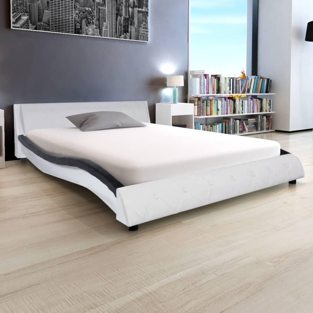 vidaXL Bett mit Memory Matratze Kunstleder 140x200 cm schwarz/weiß ...