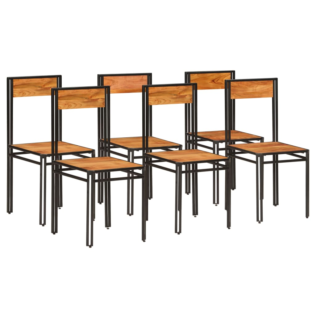 vidaXL Esszimmerstühle 6 Stk. Akazienholz Massiv Palisander Finish