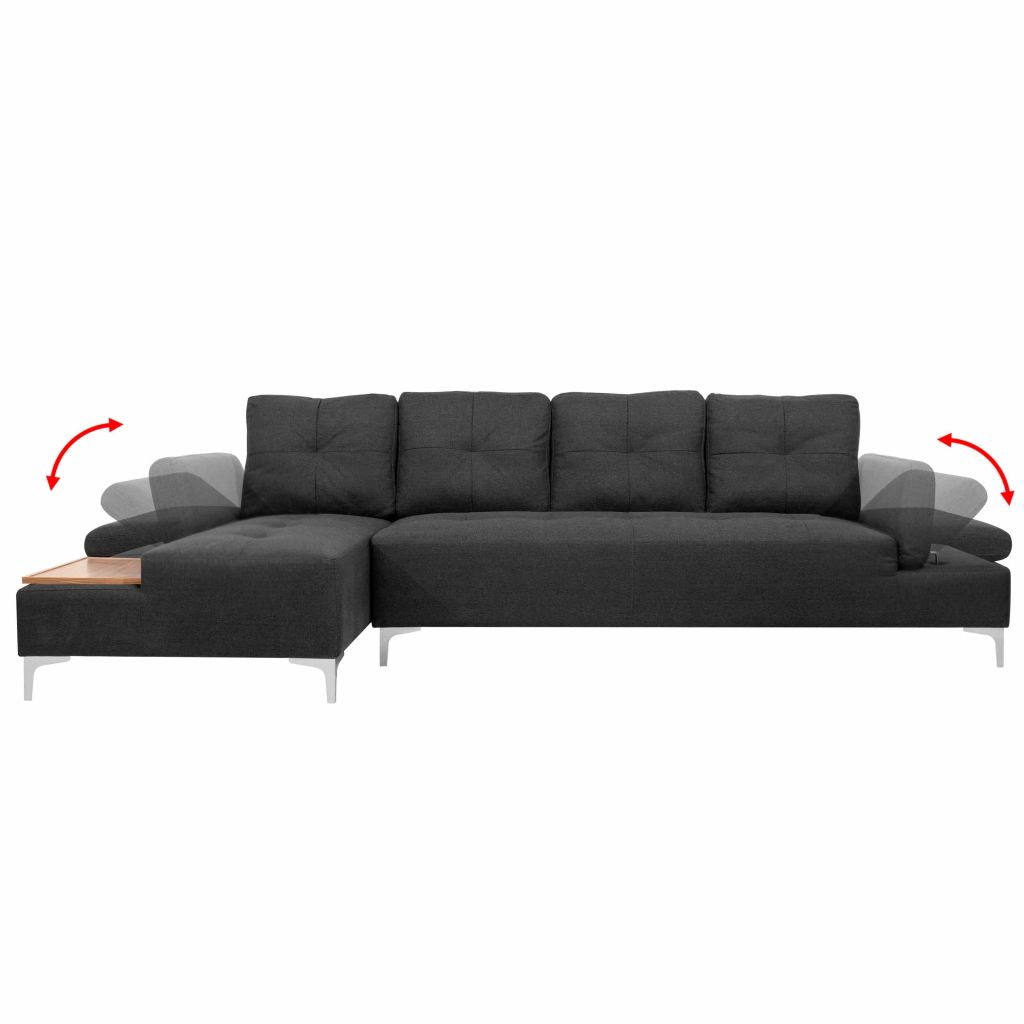 Vidaxl Sofa In L Form Mit Ablagefläche Aus Holz Stoff Grau Xxl 300