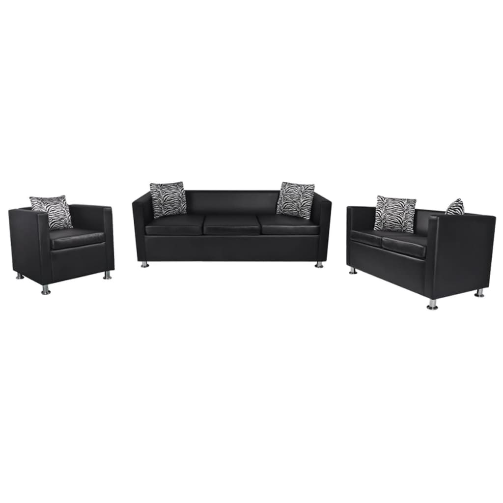 Vidaxl Sofa Set Kunstleder 3 Sitzer 2 Sitzer Sessel Schwarz Kaufen