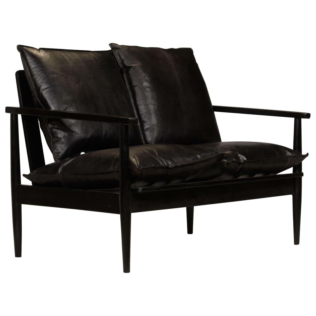 Vidaxl 2 Sitzer Sofa Leder Mit Akazienholz Schwarz Kaufen Bei Vida