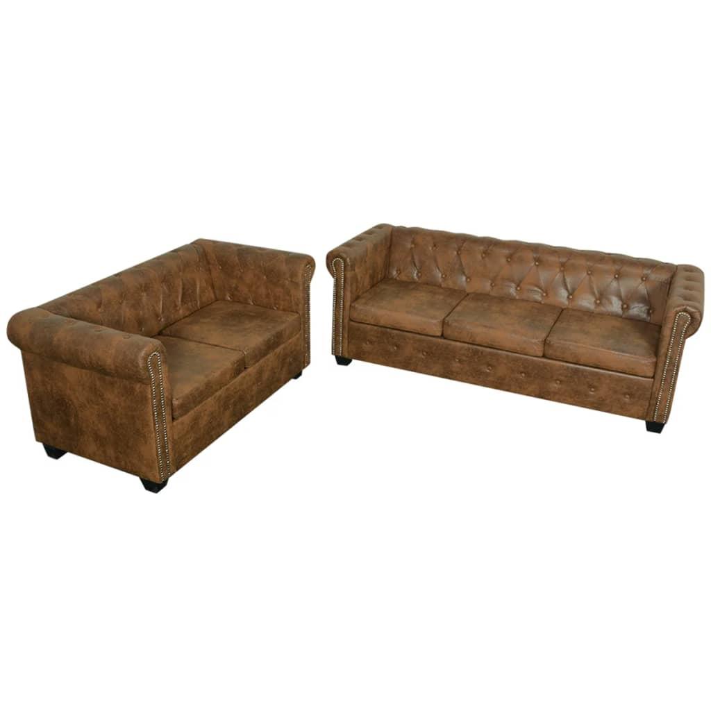 Vidaxl Chesterfield Sofa Set 2 Sitzer Und 3 Sitzer Kunstleder Braun