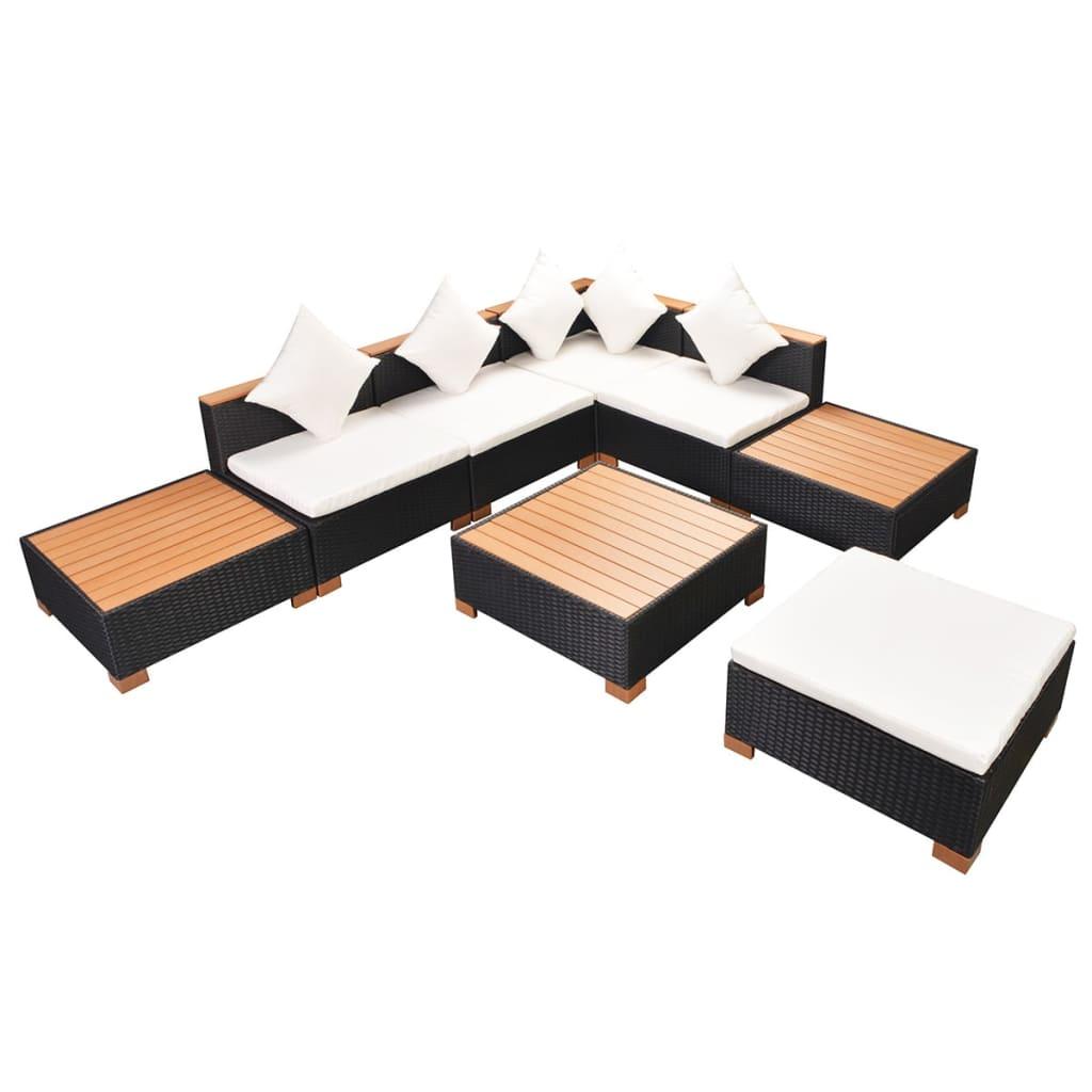 vidaXL Garten-Lounge-Set 18-tlg. Poly Rattan WPC Schwarz - Kaufen ...