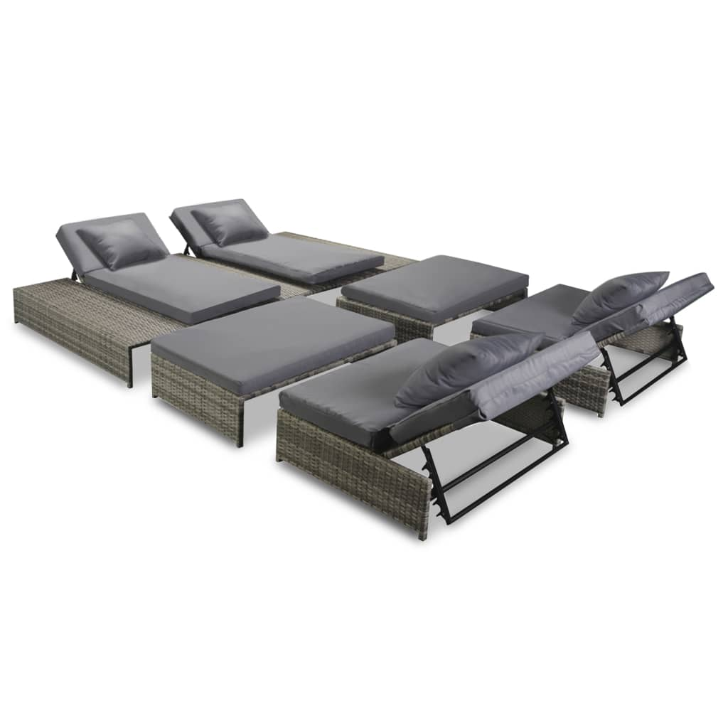 vidaXL Garten-Lounge-Set 15-tlg. Poly Rattan Grau - Kaufen bei Vida ...