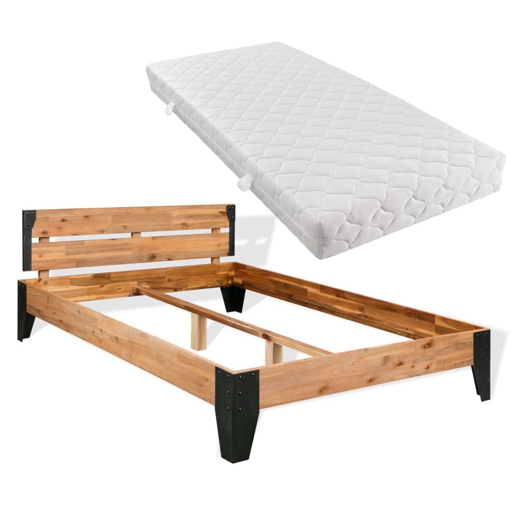 vidaxl bett mit matratze massives akazienholz stahl 140 x 200 cm kaufen bei vida xl europe b v. Black Bedroom Furniture Sets. Home Design Ideas