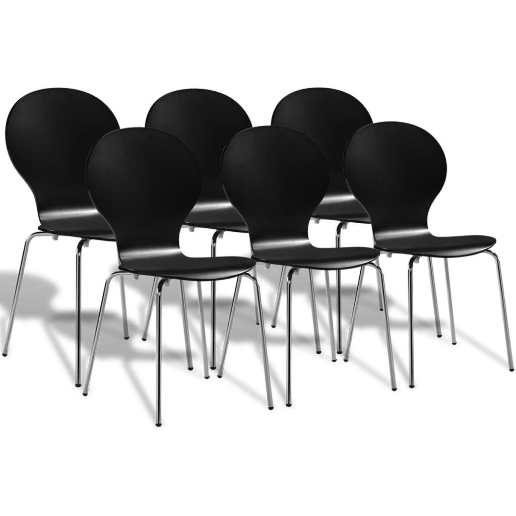 vidaXL Esszimmerstühle 6 Stk. Schwarz Kunststoff