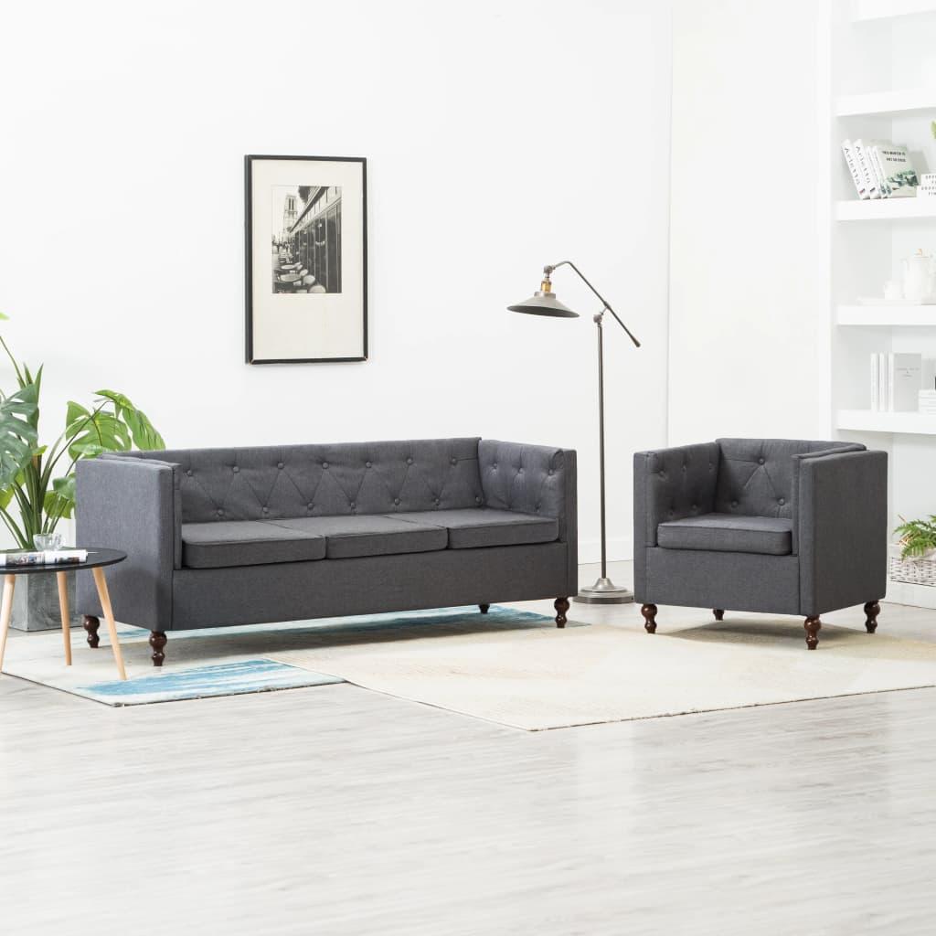 Vidaxl Chesterfield Sofa Set 2 Tlg Stoffpolsterung Dunkelgrau Kaufen Bei Vida Xl Europe B V