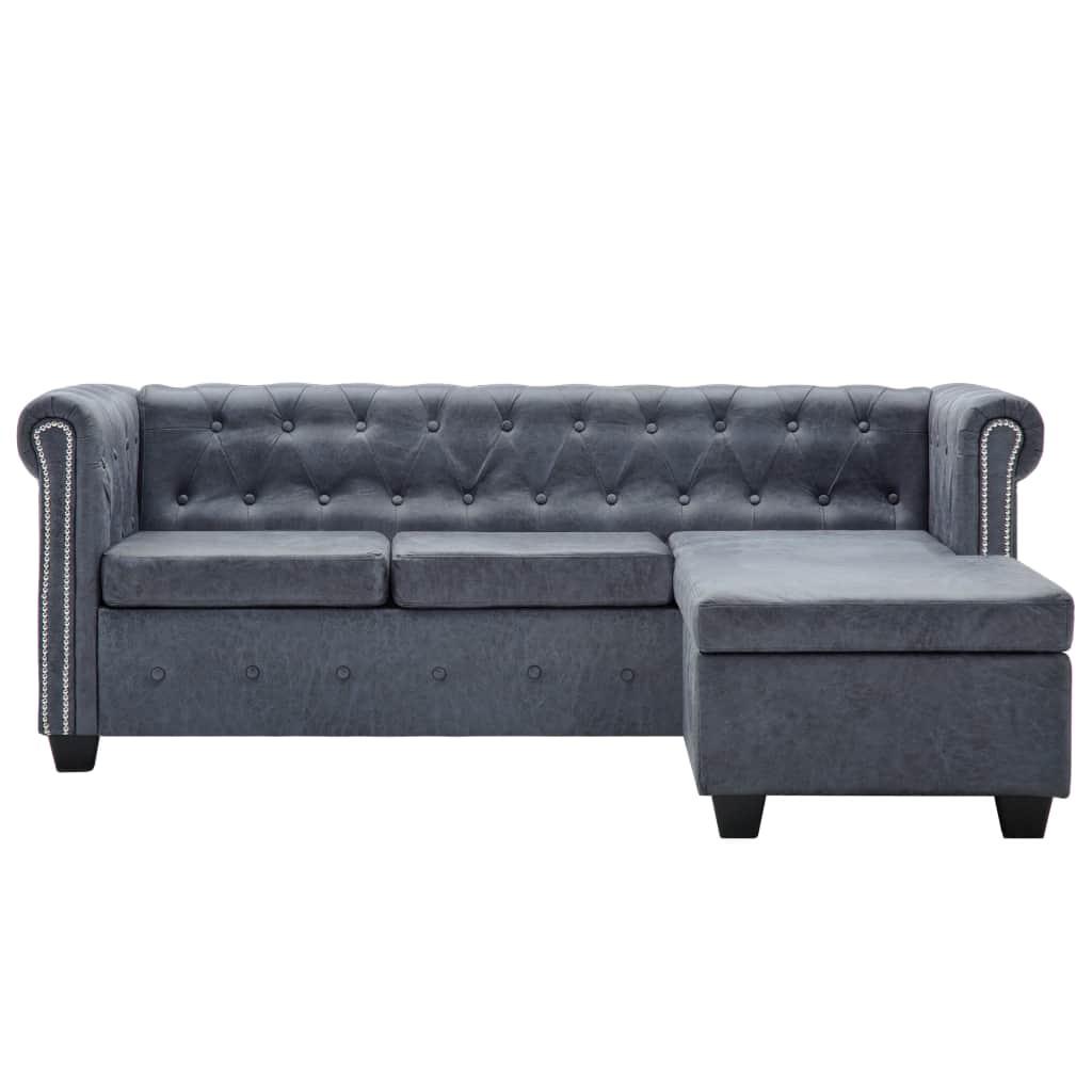 Vidaxl Chesterfield Sofa In L Form Wildleder Optik Grau Kaufen Bei