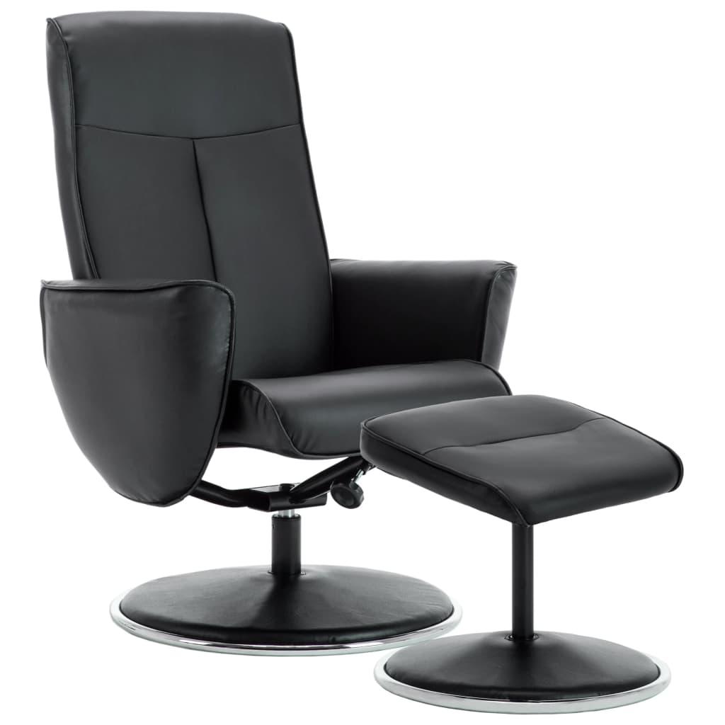 Vidaxl Sessel Mit Schemel Verstellbar Kunstleder Schwarz Kaufen