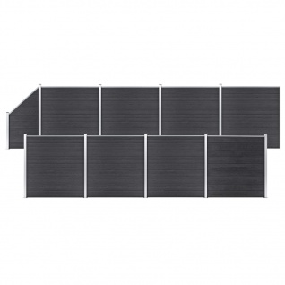 vidaXL WPC Zaun-Set 8 Quadrate + 1 Schräge 1484x186 cm Grau