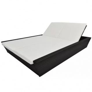 vidaXL Outdoor-Lounge-Bett mit Polster Poly Rattan Schwarz - Vorschau 4