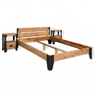 vidaXL Bettrahmen 2 Nachttische Massives Akazienholz Stahl 140x200 cm