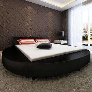 vidaXL Bett mit Matratze 180x200 cm Rund Kunstleder Schwarz