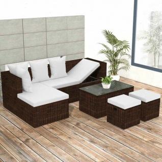 vidaXL 4-tlg. Garten-Lounge-Set mit Auflagen Poly Rattan Braun
