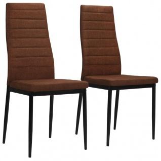 vidaXL Esszimmerstühle 2 Stk. Braun Stoff
