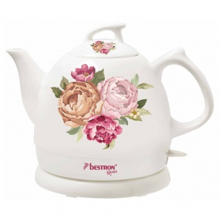 Bestron Wasserkocher Keramik DTP800RO Weiß 0, 8 L Rosen