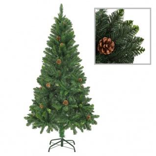 vidaXL Künstlicher Weihnachtsbaum mit Kiefernzapfen Grün 150 cm
