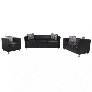vidaXL Sofa-Set Kunstleder 3-Sitzer + 2-Sitzer + Sessel Schwarz - Vorschau