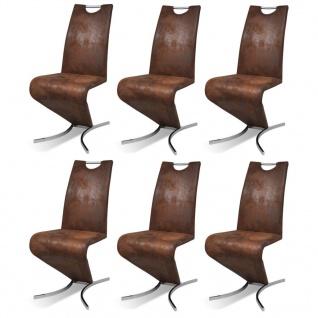 vidaXL Esszimmerstühle 6 Stk. Braun Kunstleder