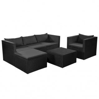 vidaXL 4-tlg. Garten-Lounge-Set Poly Rattan Schwarz und Grau