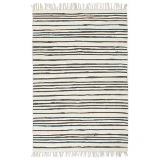 vidaXL Handgewebter Chindi-Teppich Baumwolle 160x230cm Anthrazit Weiß