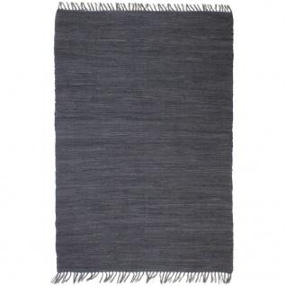 vidaXL Handgewebter Chindi-Teppich Baumwolle 160x230 cm Anthrazit
