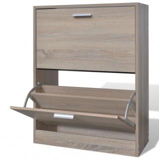 Eiche-Optik Holz-Schuhschrank mit 2 Schuhkippern