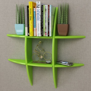 MDF Hängeregal Wandregal Wandboard Bücher/DVD Regal, grün
