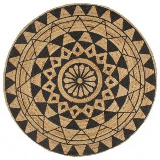 vidaXL Teppich Handgefertigt Jute mit Schwarzem Aufdruck 120 cm