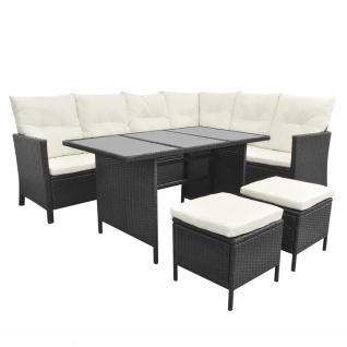 vidaXL 4-tlg. Garten-Lounge-Set mit Auflagen Poly Rattan Schwarz - Vorschau 3