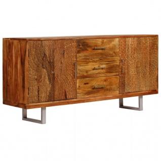 vidaXL Sideboard Massives Akazienholz Geschnitzte Türen 158x40x75 cm
