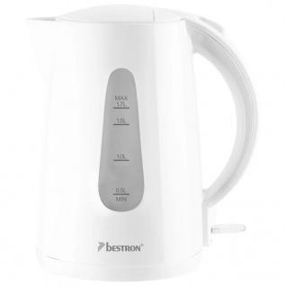 Bestron Elektrischer Wasserkocher 2200 W 1, 7 L Weiß AWK1700W