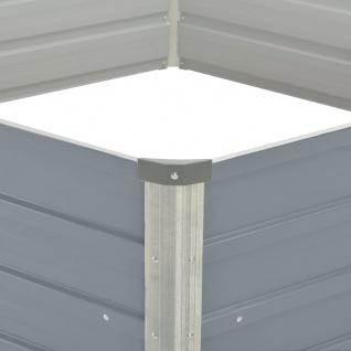 vidaXL Hochbeet 129 x 129 x 46 cm Verzinkter Stahl Grau - Vorschau 4